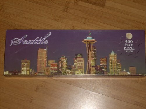 (SEATTLE Night Skyline with Full Moon PANORAMIC 500 Piece Jigsaw Puzzle 12