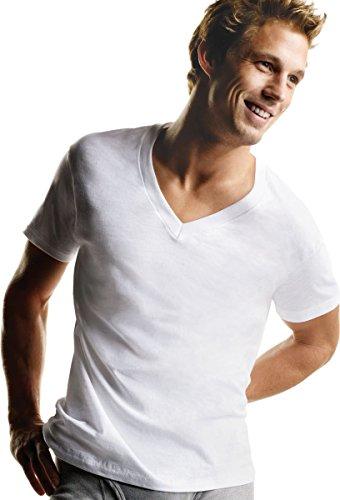 Mens Hanes White V Neck T P5, White, XXL (Hanes Mens Xxl Underwear)