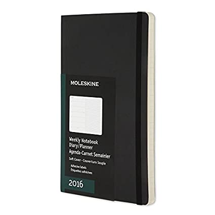 Moleskine 2016 Weekly Notebook, 12M, Large, Black, Soft Cover (5 x 8.25)