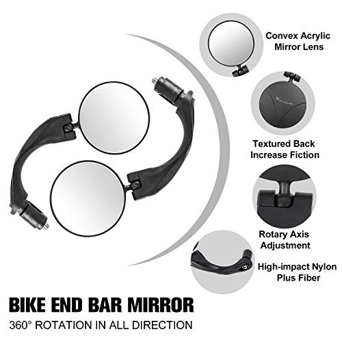 Adjustable Rotatable Bicycle Rear View Glass Mirror Wide Angle Acrylic Convex Safety Mirror for Mountain Road Bike West Biking Bike Mirror Handlebar Mount