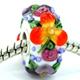 Pro Jewelry .925 Sterling Silver Glass ''3D Multicolor Rainbow Flower Cluster'' Charm Bead for Snake Chain Charm Bracelets 2143