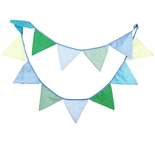 INFEI 3.2M/10.5Ft Vintage Floral Fabric Flags Bunting Banner Garlands for Wedding, Birthday Party, Outdoor & Home Decoration (Blue & Green)