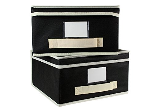 Black Fabric Stackable - Cherlex Set of 2 Foldable Storage Boxes with Attached Lids - Stackable Decorative Shelf Organizer with Handle and Label Holder - Includes Label Cards
