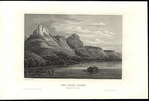 Eagle Rocks Mississippi River Pole Boat c.1860 antique steel engraved print