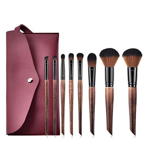 ❀Jinjiu False Lashes❀,8PCS natural elegant handed Wooden Cosmetic Makeup Brush Brushes Foundation Powder Eyeshadow Brush Set (A)