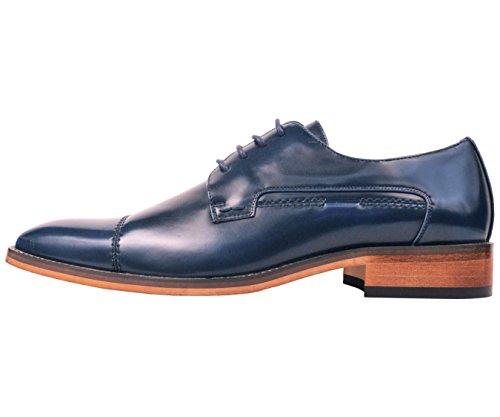 Amali Mens Liscia Puntale Scarpa Abito Oxford Con Il Decorativo Sitch Stile Lorenzo Blu