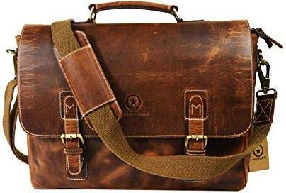 801929f987f7 Amazon.com  15.5 inch Leather Messenger Bag