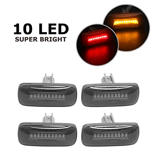 4PCS Smoke Lens Dual Cab Bed Front Rear Side Fender Marker 10 LED Lights for 2010-2017 Dodge Ram 2500 3500 Pickup Models(Red&Amber)