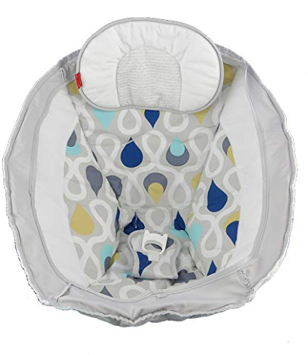 Fisher-Price Starlight Revolve Swing with Smart Connect #FPM68 - Replacement Pad with Head Support - Gray, White, Blue