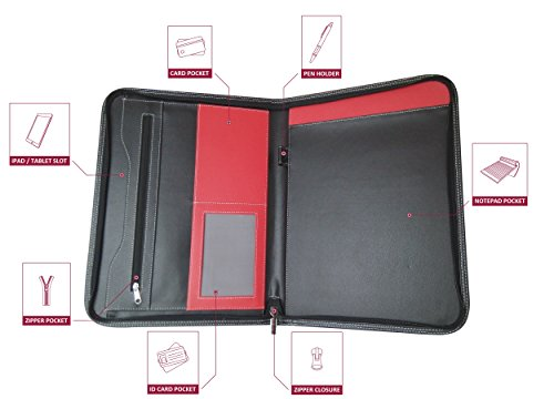 Portfolio - 3 Piece Bundle, Best Buy Gift, New Black/Red, Executive - Leather Binder Case, Tools, For The Interview, The Job, Financial Management, Office, Documents, Best - Travel Document Organizer. Photo #9