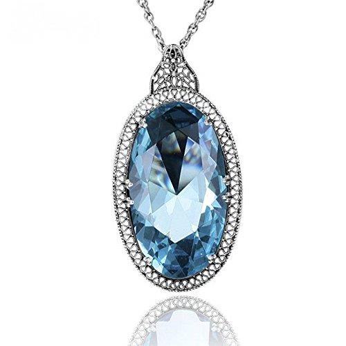 (8Ninegift British Princess Diana's Vintage pedants Soild 925 Silver Necklace Big lab Aquamarine Pendant Women Engagement Wedding Jewelry)