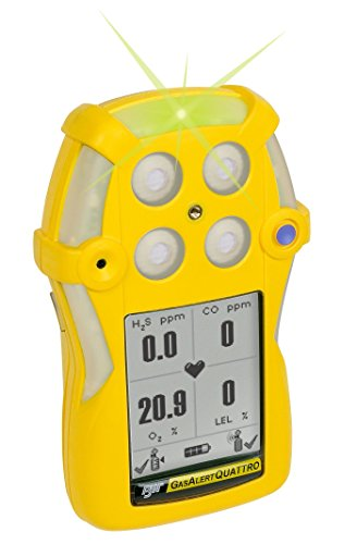 (BW Technologies QT-XWHM-R-Y-NA GasAlertQuattro 4-Gas Detector with Rechargeable Battery, Combustible, O2, H2S and CO, Yellow)
