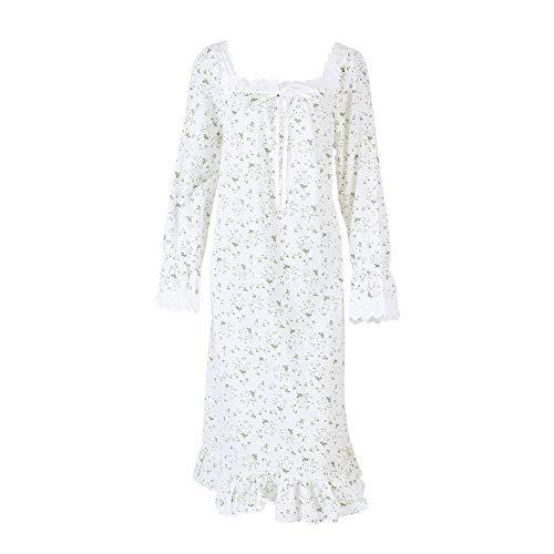 Mujeres Vestido Camisón Pequeño Mid Colores Vintage Ropa 2 Dormir Floral Camisa Manga Algodón Clásico L Larga Blanco Calf De 0afqqdE