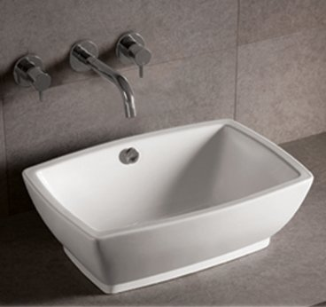Whitehaus WHKN1065-WH Isabella 21-5/8-Inch Rectangular Above Counter Lavatory Basin with Overflow, White