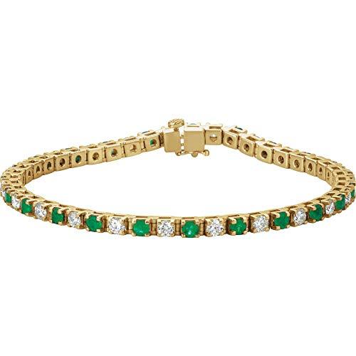 14K Yellow Gold Womens Emerald & 2 1/3 CTW Diamond Polished 7