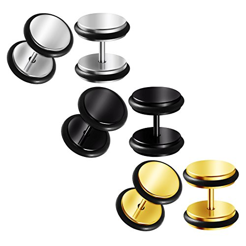 BIG GAUGES 3 Pairs 16g Gauge 1.2mm Surgical Steel Black Anodized Fake Plug 10mm Piercing Jewelry Cheater Earring Illusion Lobe BGFP 0668