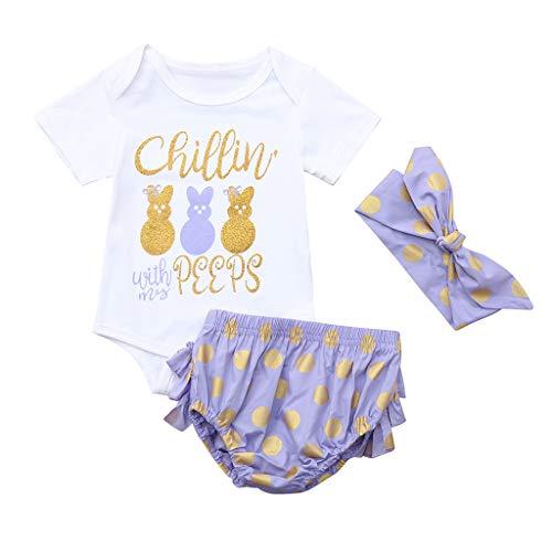 NUWFOR Infant Baby Girls Cartoon Letter Rabbit Romper Ruffles Dot Shorts Outfits Set(White,12-18 -