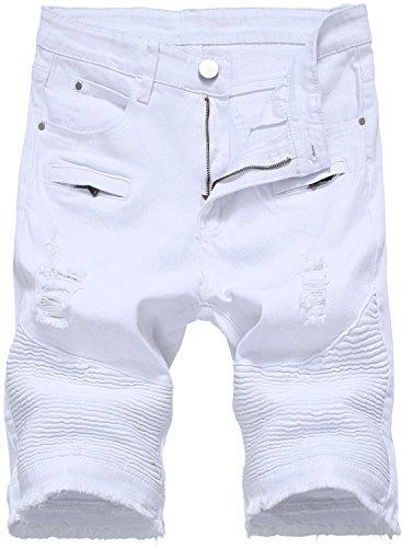 HENGAO Men's Moto Biker Ripped Slim Fit Denim Jeans Shorts, 2206 White, W36 by HENGAO