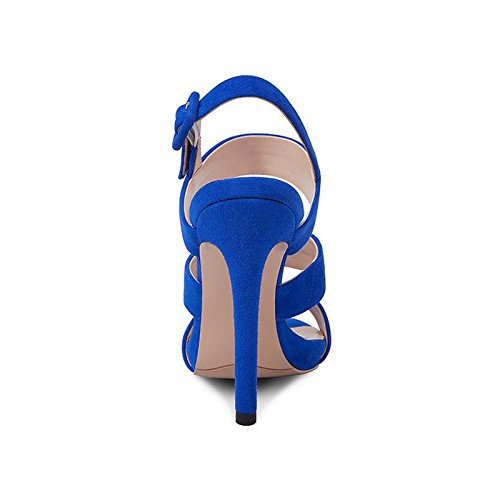 Sexy Da E Con Colore Alti A Pelle Donna Blu Con Impermeabili Estiva 36 Plateau Di Pesce Tacchi dimensioni JIANXIN Bocca Scarpe Sandali In 50vvqX