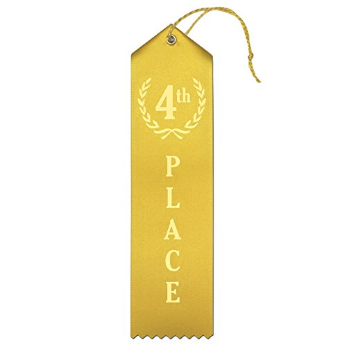 4th Place (Yellow) Premium Award Ribbons with Card & String - 25 Count Metallic Gold foil Print - Made in The ()