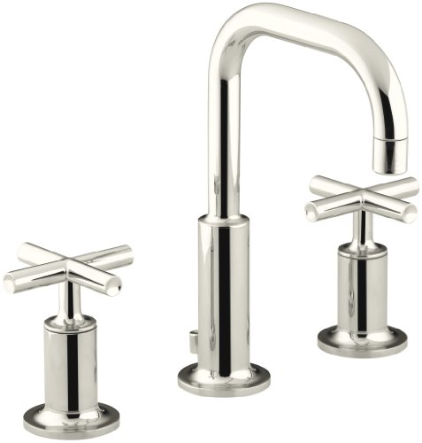 (KOHLER K-14406-3-SN Purist Widespread Lavatory Faucet with Low Gooseneck and Low Cross Handles, Vibrant Polished Nickel)
