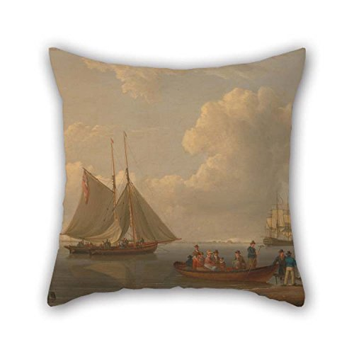 (The Oil Painting William Anderson - A Wherry Taking Passengers Out To Two Anchored Packets Cushion Covers Of 18 X 18 Inches / 45 By 45 Cm Decoration Gift For Divan Bedding Husband Bedroom Boy Frie)