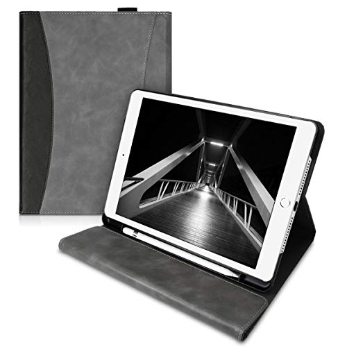kwmobile Case Compatible with Apple iPad 10.2 (2019) – PU Leather Portfolio Cover with Magnet and Kickstand Feature – Grey/Black