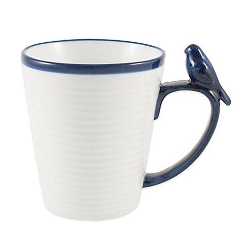 Blue Rim Bird Mug