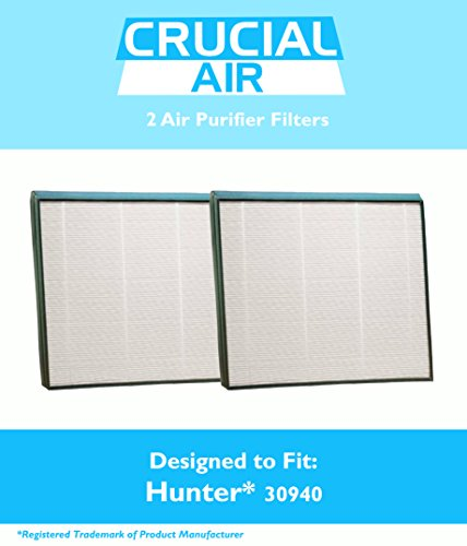 2 Hunter 30940 Air Purifier Filters Fit Models 30210, 30214, 30215, 30216, 30225, 30260, 30398, 30400 & 30401, Designed & Engineered by Crucial Air