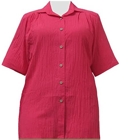 A Personal Touch Women's Plus Size Strawberry Gauze Short Sleeve Tunic