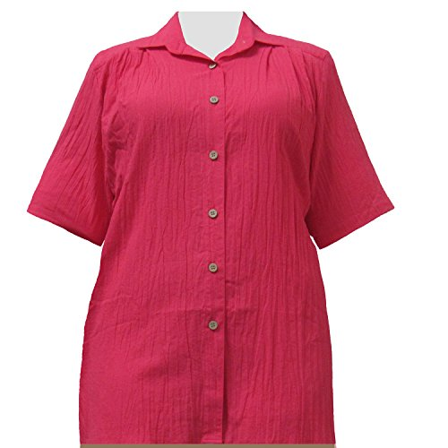 A Personal Touch Women's Plus Size Strawberry Gauze Short Sleeve Tunic - 1X