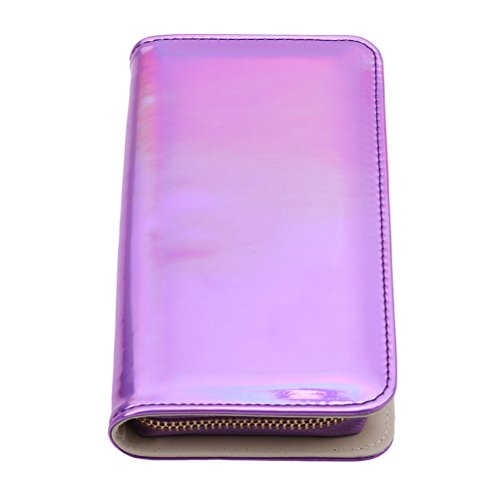 Purple Card Handbag Long with Gold Flybloom Leather Wallet Color Pu Holder Laser Women's Clutch Zipper Purse wnxn8PZC