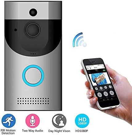 ビデオドアベルワイヤレスWifi防水、カメラドアベル、スマートドアベルボタンHDセキュリティカメラと互換性あり(PIRモーション検出ナイトビジョン双方向機能付き)