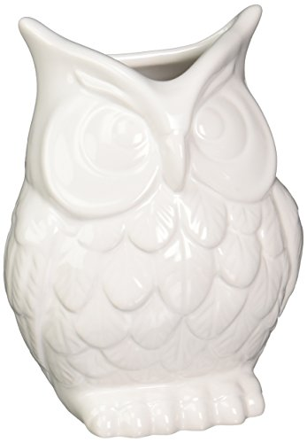 "Abbott Ceramic Owl Vase, White - Cute owl vase, perfect for any home Add some wise charm to an floral display Measures 7"" tall - vases, kitchen-dining-room-decor, kitchen-dining-room - 41X Nsa5SWL -"