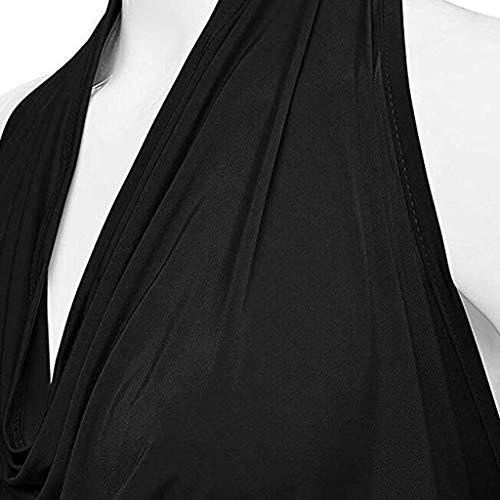 Tops Tank Cortos Camiseta Color Negro Halter Muje Sólido Sin Cowl Chaleco Mangas Cuello Drape Mujer Blusa Sexy Respaldo De 1A1Rqw