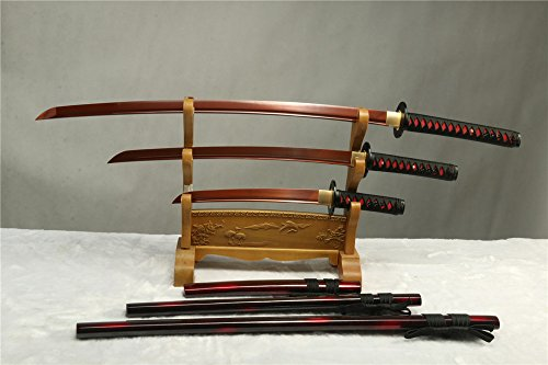 1095 CARBON STEEL RED BLADE FORGED JAPANESE SAMURAI SWORD SET ( KATANA + WAKIZASHI +TANTO