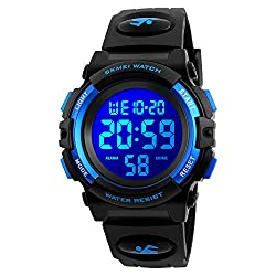 Kids Watch for Boys Girl Sports Waterproof 7 Colors LED Light Wrist Watches with Alarm Clock Stopwatch Calendar Outdoor Blue