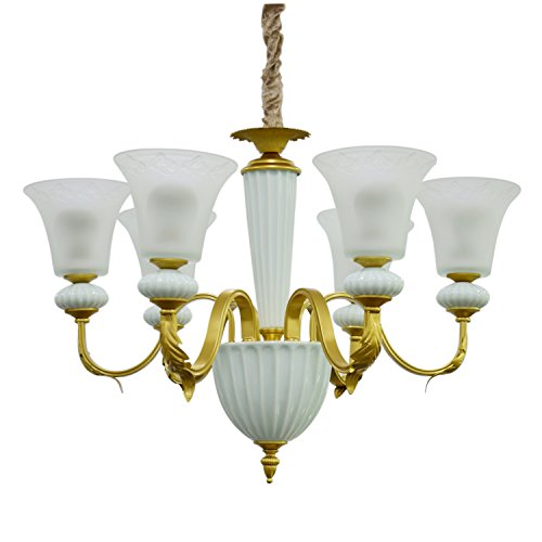 Pama Chandelier, 6-Light Large Chandelier, Ceramic and Wrought Iron Chandelier, Lighting Fixture for Living Room, Dining Room, Kitchen, Bedroom GH-8465
