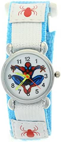 Timermall Spiderman Childrens Girls Boys Light Blue Nylon Fabric Velcro Strap Quartz Wrist Watch