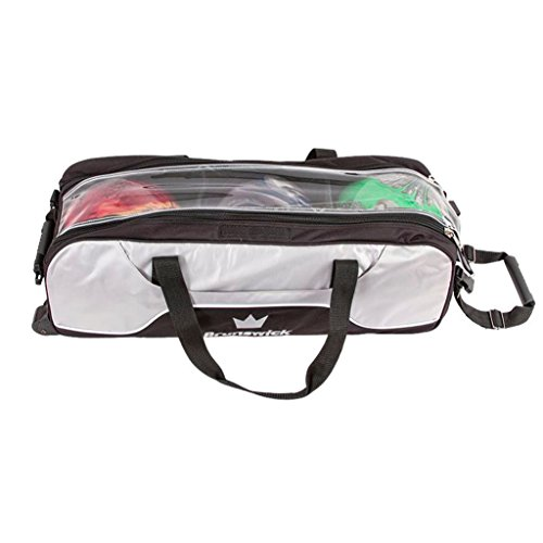 Brunswick Crown Triple Tote No Pouch Bowling Bag, Silver