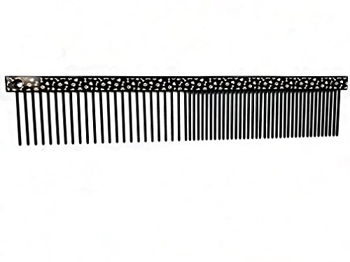 "ShearsDirect Black Paw and Bone 6"" Comb with Med/Fine Teeth"