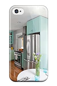 Iphone 4/4s Stainless Appliances In A Kitchen With Hardwood Floors And Teal Cabinets Print High Quality Tpu Gel Frame Case Cover