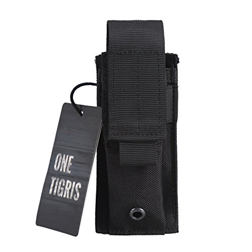 OneTigris Tactical Molle Single Pistol Mag Pouch EDC Organizer Pouch EMT Mini Scissor Tool Pouch (Black)