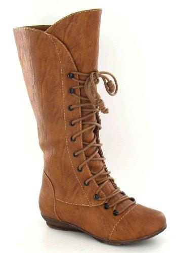Stiefel flacher Leg Schnürung mit High Hellbraun Cutie FwgXqRxaT