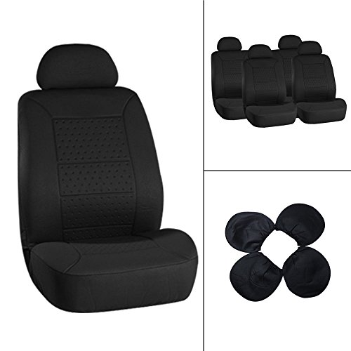 ECCPP Universal New 5MM Padding Soft Car Seat Cover w/Headrest – 100% Breathable Embossed Cloth Stretchy Durable Black for Most Cars Trucks Vans