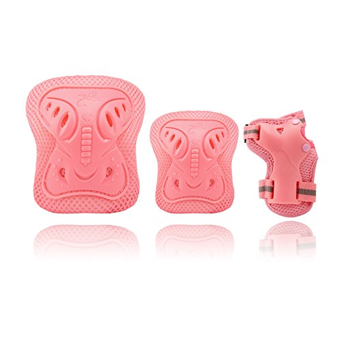 NIECOR Kids Protective Gear Set 3 in 1 Kids Knee Pads Suitable for Children Cycling, Skiing, Skating, Skateboard, Climbing Indoor Game etc. (Pink, S) by NIECOR