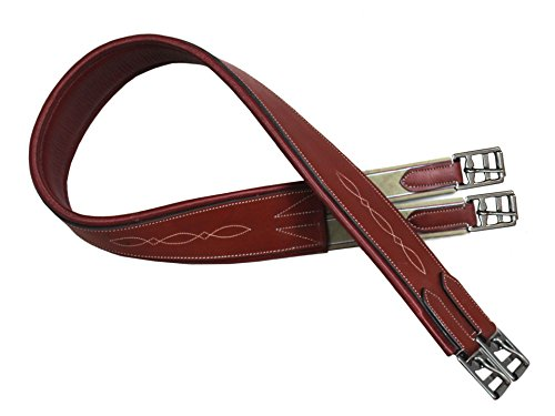 Fancy Stitched Leather - Royal International Paris Tack Fancy Stitched English Overlay Girth Leather, 46 inch