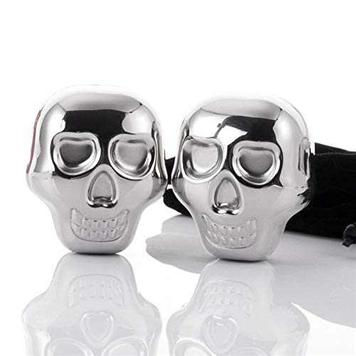 Wine Coolers & Chillers - 2pc Stainless Steel Skull Ice Cube Whiskey Drink Cooler Stone Wine Appliances Personalized Gift - Whiskey Dispenser Cube Wine Coasters Opener Glasses Stone Rack Pourer