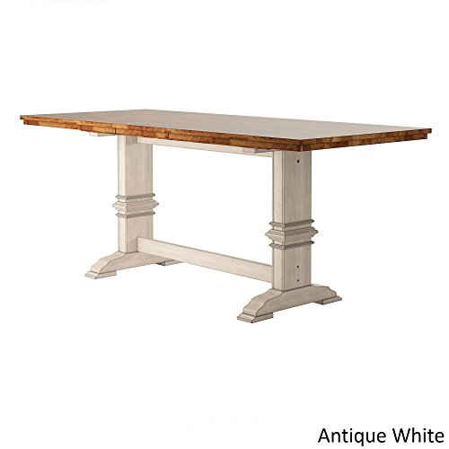 (Inspire Q Eleanor Solid Wood Counter ight Trestle Base Dining Table by Classic Antique White Oak Finish, Off-White Finish)