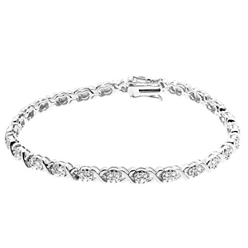 JewelExclusive Sterling Silver .50 CTTW diamond 7.5in oval X/O bracelet